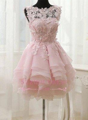 Short Straps Cute Sleeveless Flowers Ruffles Homecoming Dress UK_2
