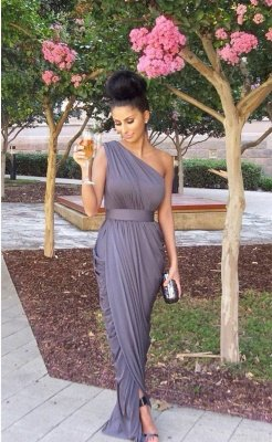 Modern One-shoulder Empire Bridesmaid Dress UK Floor-length With Beadings_1