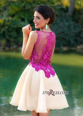 Short Sleeveless Fuchsia lovely Appliques Chiffon Lace Homecoming Dress UK_5