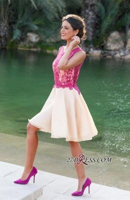 Short Sleeveless Fuchsia lovely Appliques Chiffon Lace Homecoming Dress UK_2
