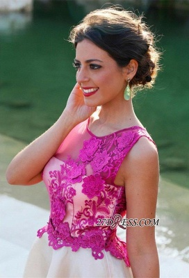 Short Sleeveless Fuchsia lovely Appliques Chiffon Lace Homecoming Dress UK_3