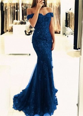 Off-the-Shoulder Prom Dress UK | Lace Appliques Evening Gowns_4