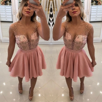 Pink Sequins Short Homecoming Dress UK | 2019 Short Prom Dress UK With Peals_4