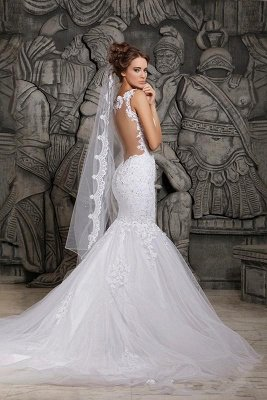 Backless Sexy Mermaid Lace Wedding Dresses UK Applique Spaghetti Straps Bridal Gowns_4
