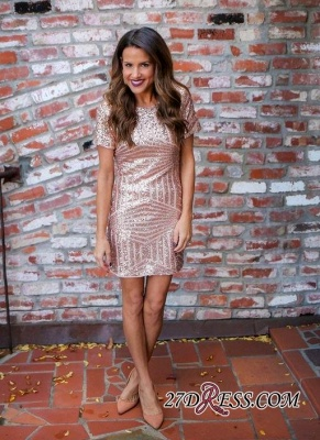 Sequins Sexy Short-Sleeves Short Sheath Homecoming Dress UKes UK_3