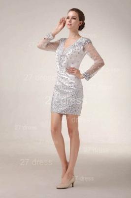 Mini V-Neck Sheath Homecoming Dress UKes UK Long Sleeve Crystal Cocktail Gowns_5