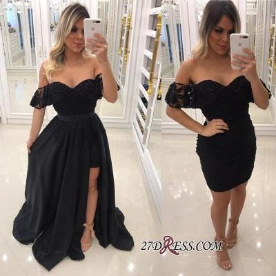Off-The-Shoulder Beaded Chic Side-Slit Black A-Line Evening-Dress UKes UK BA7540_2