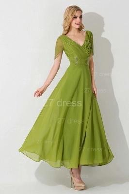 Newest V-neck Short Sleeve Evening Dress UK Chiffon Floor-length_3