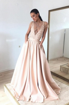 Cap-Sleeve Prom Dress UK | Beads Long Evening Gowns_1