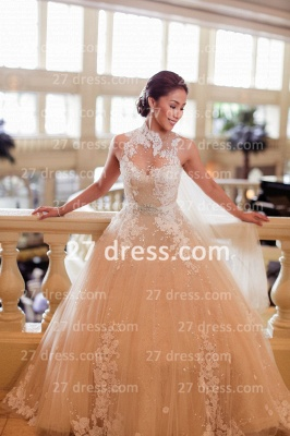 Train A-line Wedding Dresses UK Bridal Gowns with Sheer Cheap Tulle Buttons Sleeveless Applique Beaded Court_1