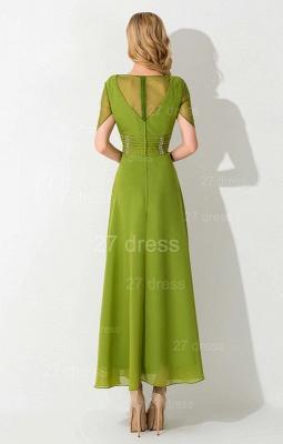 Newest V-neck Short Sleeve Evening Dress UK Chiffon Floor-length_4