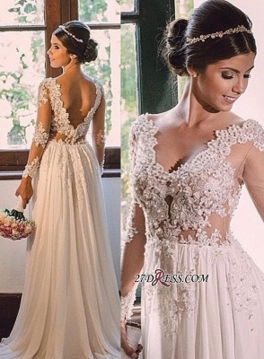 V-neck Simple A-line Backless Lace  Sweep-Train Wedding Dress LPL029_3