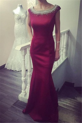 Newest Beadings Ruffles Prom Dress UK Bodycon Jewel Cap Sleeve_1