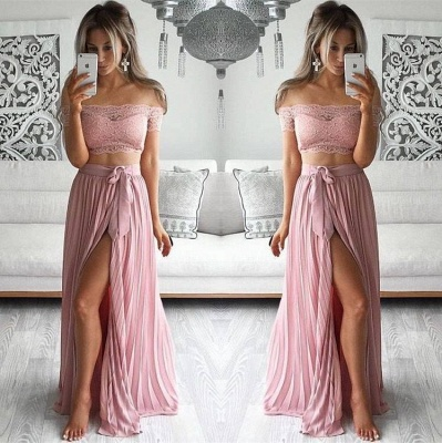 Lovely Two Pieces Lace Prom Dress UK Long Front SPlit BA3314 AU0_3