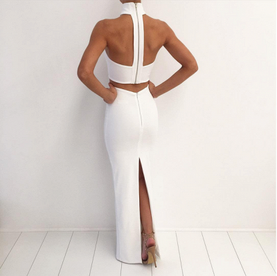 Elegant Mermaid Black Two Piece Prom Dress UK Sleeveless Strapless_4
