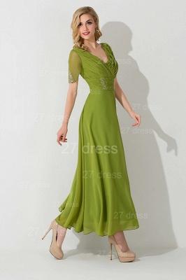 Newest V-neck Short Sleeve Evening Dress UK Chiffon Floor-length_2