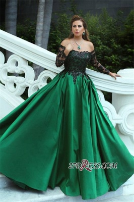 Black-Appliques Sleeves Green Long Off-the-Shoulder A-Line Sexy Prom Dress UK BA7135_3