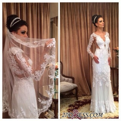 Long Floor-length Lace Sheath White Sleeve Sheath Wedding Dress_1
