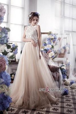 Sleeveless Romantic Tulle Vintage Appliques Wedding Dress_3