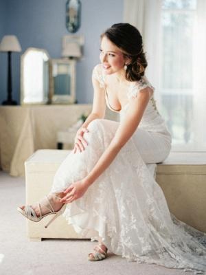 Newest Bodycon Cap Sleeve Wedding Dress V-neck Lace_1