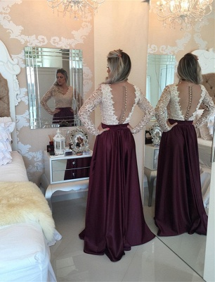 Stunning Long Sleeve Lace Pearls Prom Dress UKes UK Long Party Gowns BT0_1