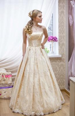 Elegant Strapless Sleeveless Champagne Wedding Dress Floor-length With Appliques_1