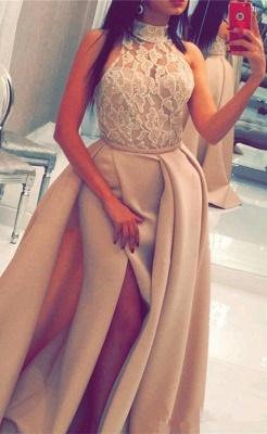 Luxury Halter High Neck Lace Evening Dress UK Slit Ruffles BA6712_1
