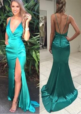 Elegant V-Neck Green Prom Dress UK Long Front Split_2