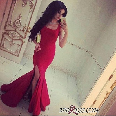 Simple Red Mermaid Square-Neck Side-Slit Straps Evening Gowns_1