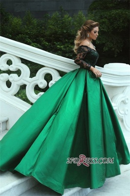 Black-Appliques Sleeves Green Long Off-the-Shoulder A-Line Sexy Prom Dress UK BA7135_1