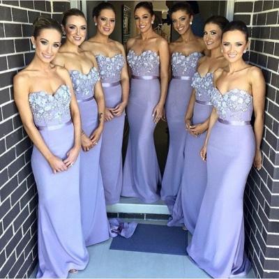 Elegant Sweetheart Sleeveless Mermaid Bridesmaid Dress UK With Appliques_1