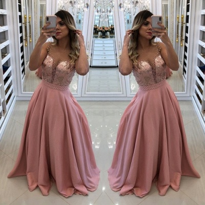 Luxury Pink Evening Dress UK | 2019 Long Prom Dress UK With Pearls_3
