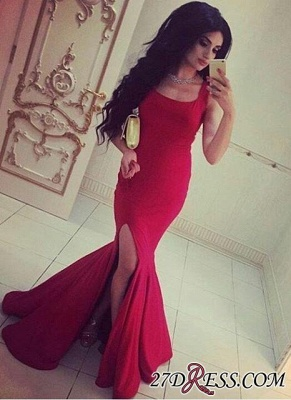 Simple Red Mermaid Square-Neck Side-Slit Straps Evening Gowns_2