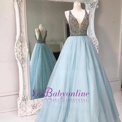 Sleeveless A-line Crystals Tulle Stunning Zipper V-neck Prom Dress UK_1