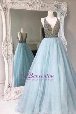 Sleeveless A-line Crystals Tulle Stunning Zipper V-neck Prom Dress UK_2