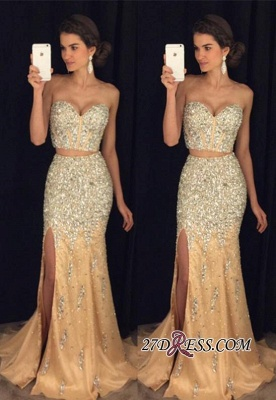 Mermaid Side-Slit Sweetheart Crystal Two-Pieces Luxury Prom Dress UK AP0_2