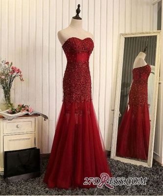 Luxury Sweetheart Mermaid Prom Dress UK Tulle With Lace Appliques_1