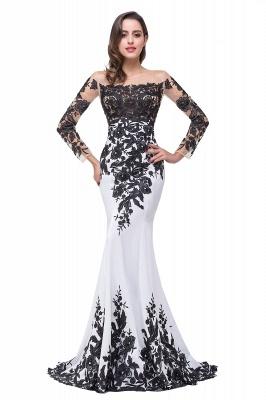 Gorgeous Long Sleeve Mermaid Evening Dress UK Black Appliques Mother Dress UK_1