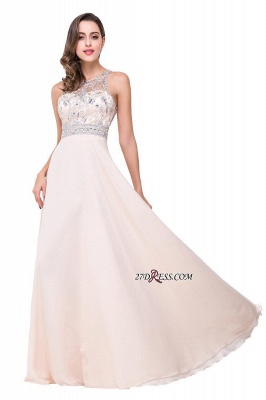 Chiffon Sleeveless Light-Champagne Long Crystals Prom Dress UKes UK BA6131_9