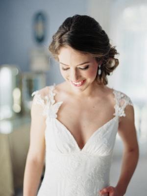 Newest Bodycon Cap Sleeve Wedding Dress V-neck Lace_5