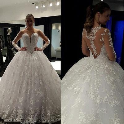 Fashion Long Sleeve Lace Ball Gown Wedding Dress Floor-Length_2