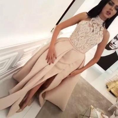 Luxury Halter High Neck Lace Evening Dress UK Slit Ruffles BA6712_4