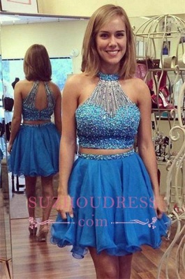 Mini Two-Piece Luxury Crystals Halter A-line Homecoming Dress UK_1