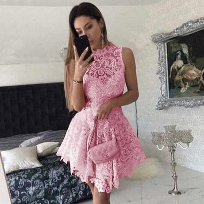 Modern Lace High Neck Sleeveless A-line Short Homecoming Dress UK | Homecoming Dress UK_2