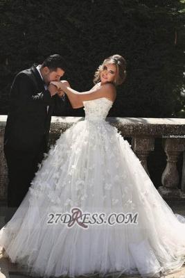 Elegant Sweetheart Sleeveless Tulle Wedding dress With Ball Gown Floor-length Flowers_1