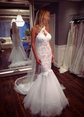 Sexy Mermaid Tulle Sleeveless Lace Halter Elegant Wedding Dress_1