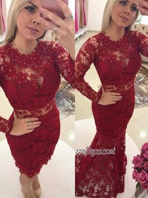 Luxury Jewel Lace Evening Gowns | Long Sleeves Mermaid Prom Dress UKes UK_4