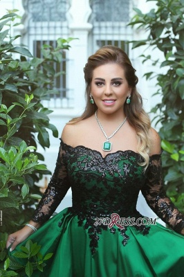 Black-Appliques Sleeves Green Long Off-the-Shoulder A-Line Sexy Prom Dress UK BA7135_2