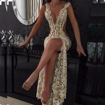 Elegant V-Neck Sleeveless Prom Dress UKes UK Lace Slit Beadings BA2786_3