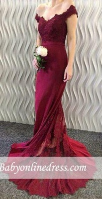 Burgundy Lace Appliques Long Off-the-Shoulder Mermaid Prom Dresses LY86_3